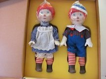 """Porcelain Raggedy Ann and Andy 16"""" made by Ideal Circa 1983 in Kingwood, Texas"""